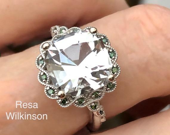 Cushion Cut Goshenite and Green Diamond Vine Ring 14k White