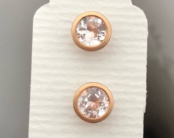 Pink Morganite 18k Rose Gold Stud Earrings Free Shipping USA