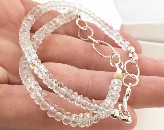 Morganite Gemstone Bracelet Sterling Silver Adjustable