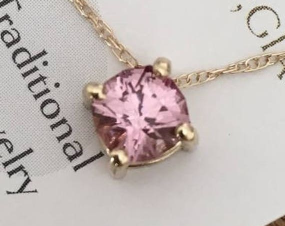Mahenge Peachy Pink Garnet Slide Necklace Cushion Cut