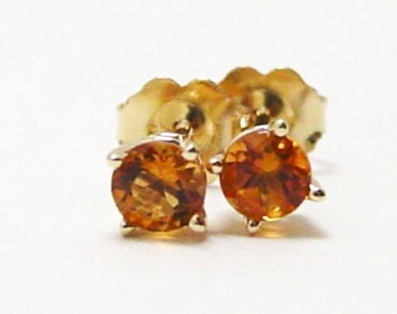 Citrine Stud Earrings Yellow Gold