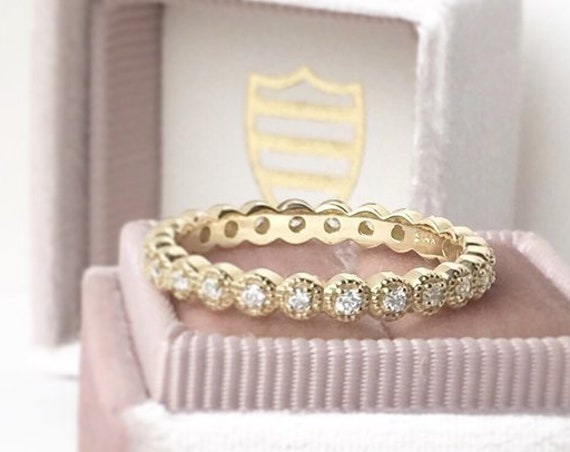 Diamond Eternity Ring Milgrain Edge 14k Yellow Free Shipping