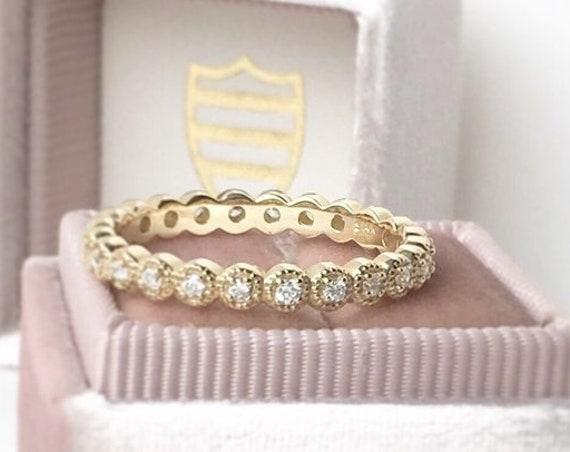 Diamond Eternity Ring Milgrain Edge 14k Yellow Free Shipping