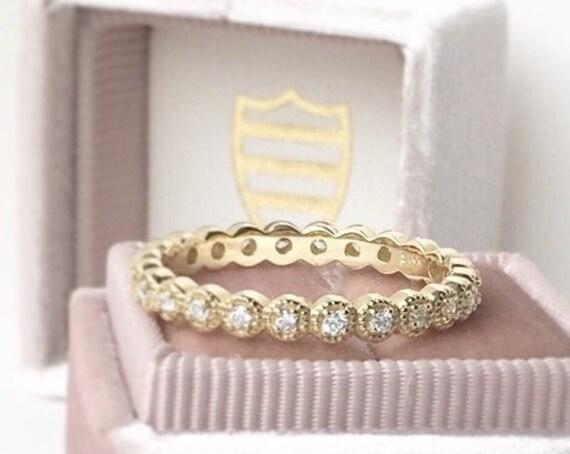 Diamond 1/4 Carat Eternity Ring Milgrain Edge 14k Yellow