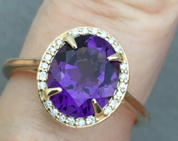Amethyst Diamond Halo Ring Oval Engagement