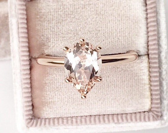 Pear Morganite Rose Gold Ring Six Prong
