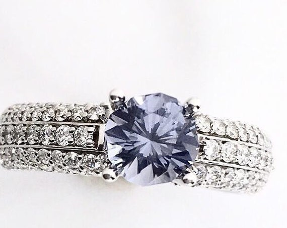 Blue Spinel in 3/4 carat Diamond Ring 14k White Gold