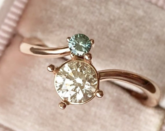 Two Stone Wedding Ring or Stackable Select your Stone