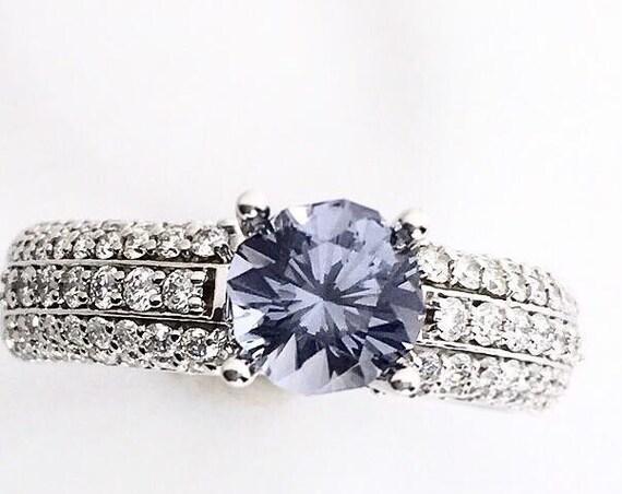 Blue Spinel in 3/4 carat Diamond Ring 14k White Gold