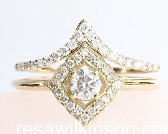 Diamond Ring Vintage Inspired 14k Yellow Gold