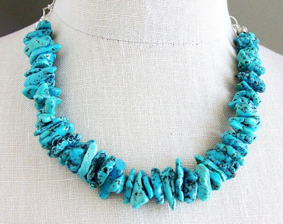 Kingman Turquoise Statement Necklace with Navajo Vintage Silver