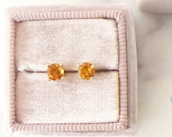 Citrine Stud Earrings 14k Yellow Gold