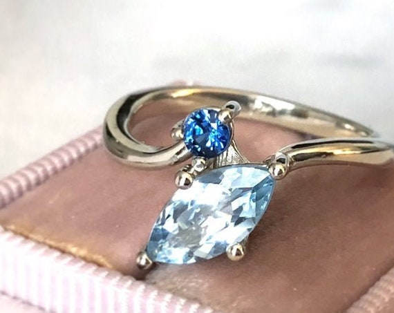 Aquamarine and Blue Sapphire Side by Side Ring