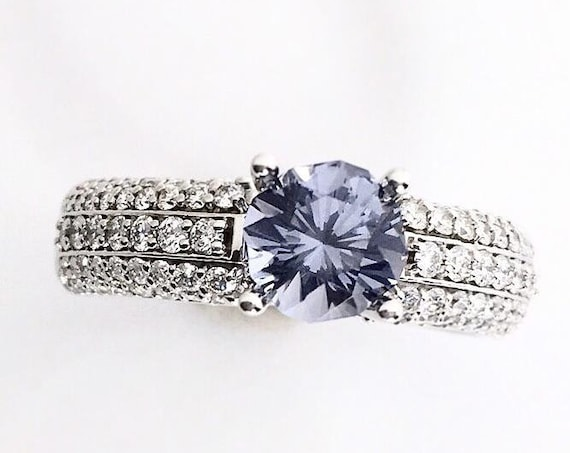 Blue Spinel Diamond Ring Euro Shank 14k
