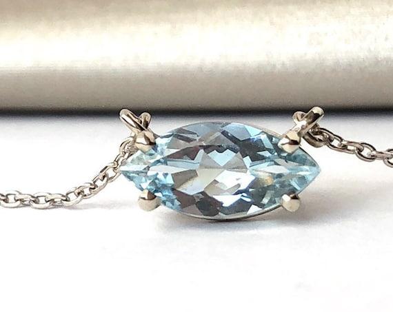 Marquise Aquamarine Necklace Minimalist Style East West 14k White