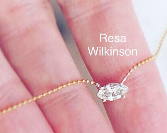 Diamond Marquise Two Tone Solitaire Necklace 14k