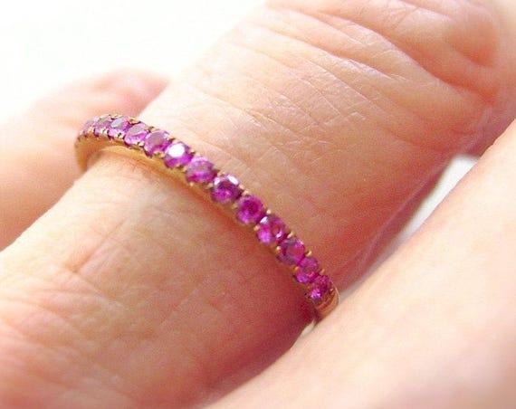 Pink Sapphire Anniversary Band 14k Yellow
