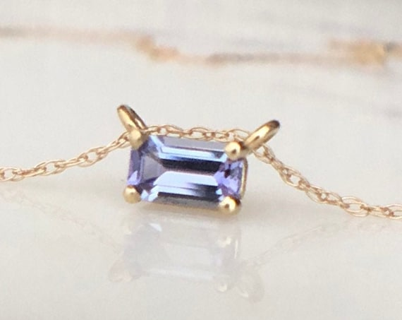 Mighty Tanzanite Necklace Emerald Cut Minimalist Style Stacking Necklace