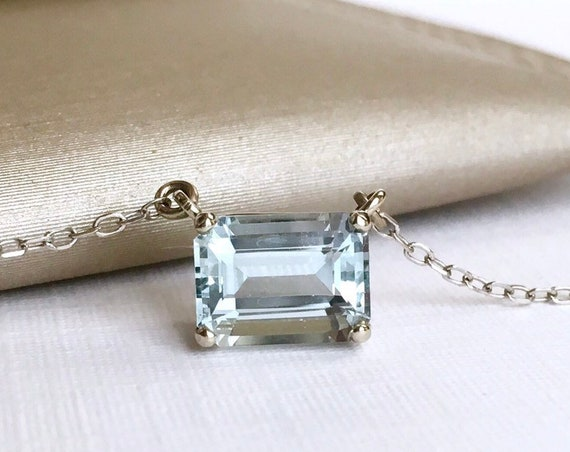 Aquamarine Necklace 14k White East West Setting Adjustable