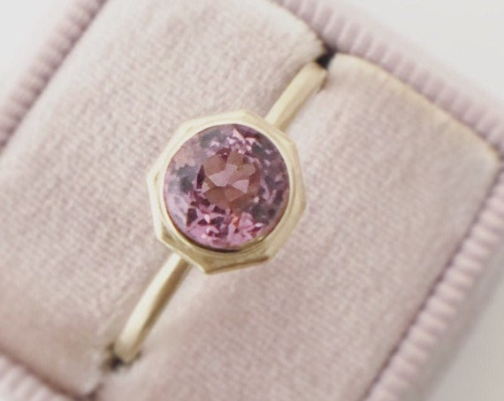 Pink Spinel Brushed Gold Solitaire Ring