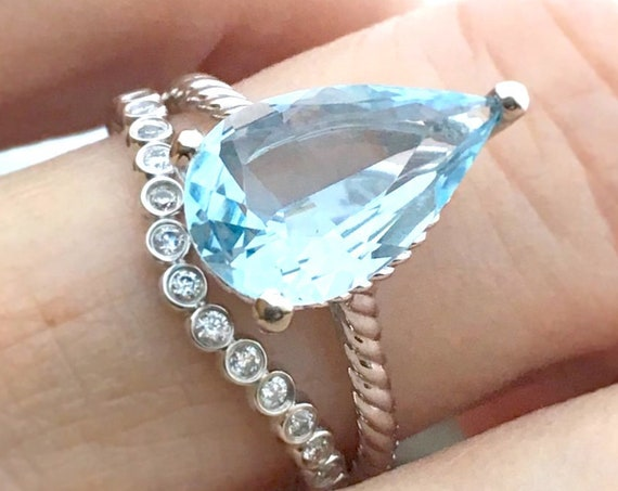 Pear Aquamarine Rope Style Ring and Diamond Band