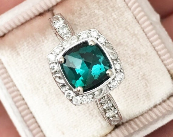 Teal Tourmaline Diamond Halo Ring Fair Trade Gemstone