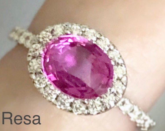 Rare Natural Certified Oval Pink Sapphire Diamond Halo Ring Select your Mounting