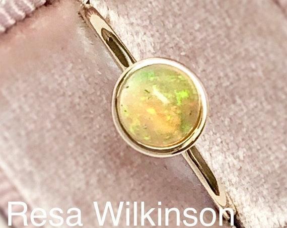 Ethiopian Opal Ring 14k Bezel Set