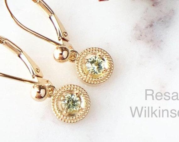 Chrysoberyl Gemstone Dangle Earrings Fair Trade