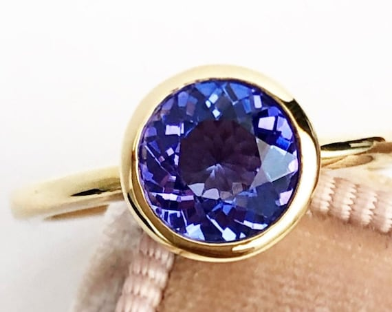 Tanzanite Solitaire Ring Bezel Set 14k Yellow Gold