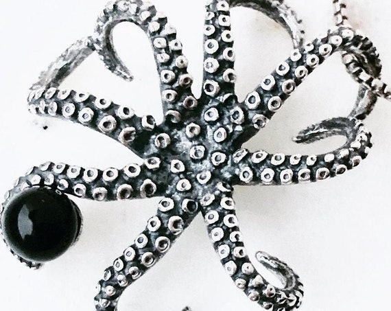 Whitby Jet Octopus Necklace Sterling Silver