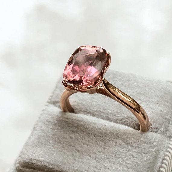 Natural Pink Tourmaline Rose Gold Solitaire Ring