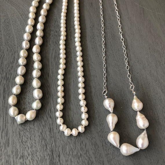 Freshwater Pearl Necklace Selection  Sterling Silver Chain Toggles