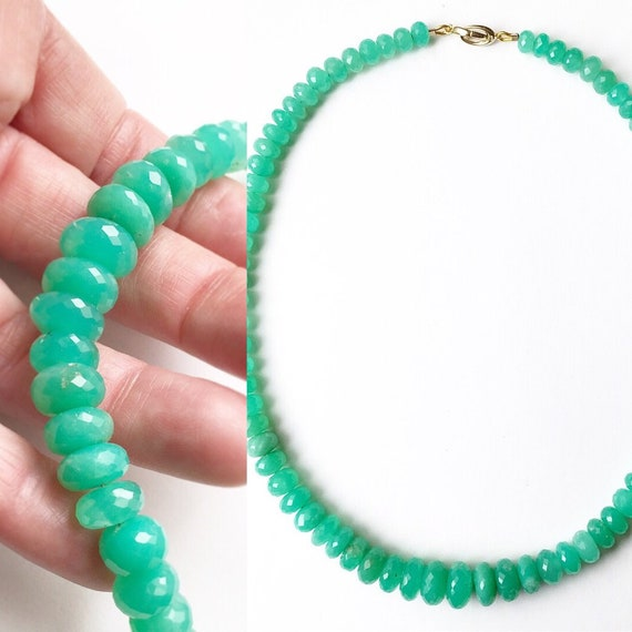 Apple Green Chrysoprase Graduated Faceted Necklace 14k