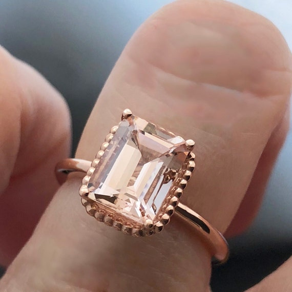 Emerald Cut Morganite Rose Gold Engagement Ring