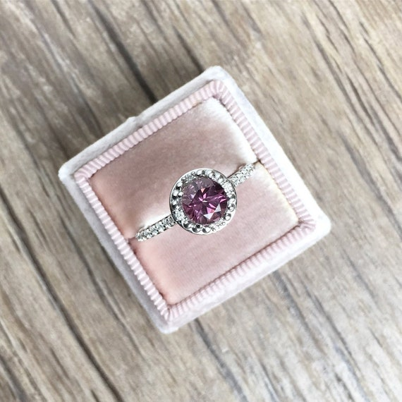 Purple Spinel and Diamond Halo Ring with Beaded Design