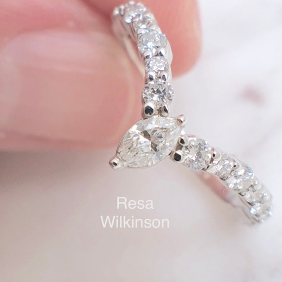 Diamond Marquise V Shape Contour Ring with Diamond Accents
