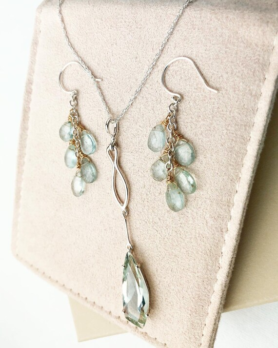 Kite Shape Prasiolite Necklace and Gift with Purchase Aquamarine Earrings