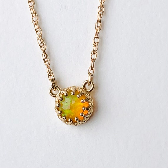 Ethiopian Opal Crown Style Necklace 14k