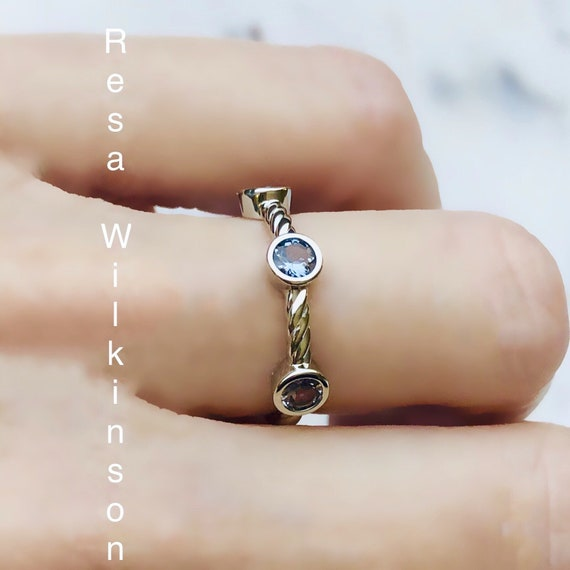 Blue Grey Spinel Rope Style Ring