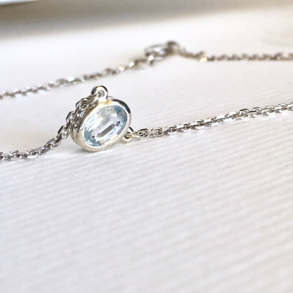 Oval Aquamarine Bezel Necklace Sterling Silver