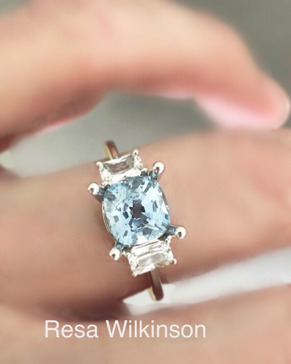 Frost Blue Natural Sapphire 2.33 carat Cushion Cut Ring with option of White Sapphire or Diamond Accents