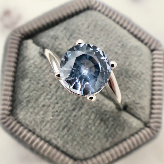 Cloudy Skies Blue Sapphire Solitaire Ring