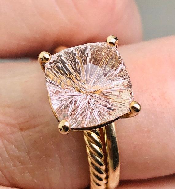 Pink Morganite 4.11 carat Engagement Ring 14k Yellow