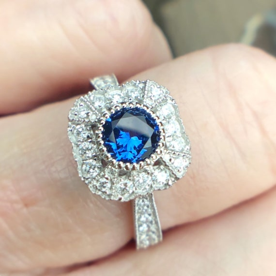 Blue Sapphire and Diamond Halo Ring Vintage Inspired