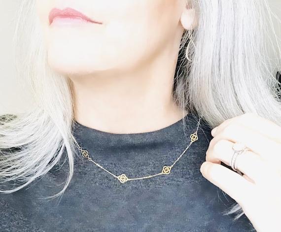 Seven Gold Clover Flower Necklace 14k