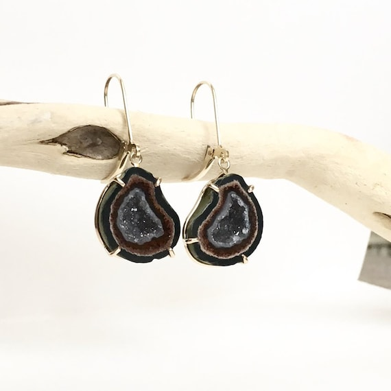 Natural Tabasco Geode Earrings 14k