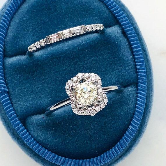 Vintage Inspired Diamond Halo Engagement