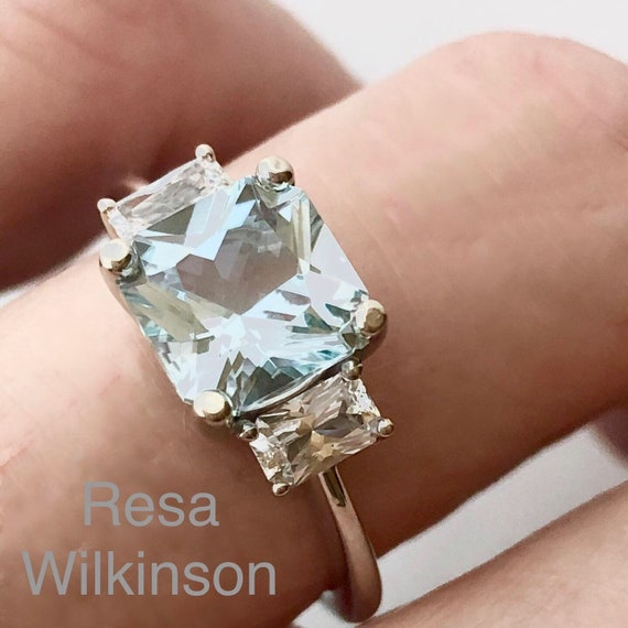 Asscher Cut Aquamarine and White Sapphire Ring