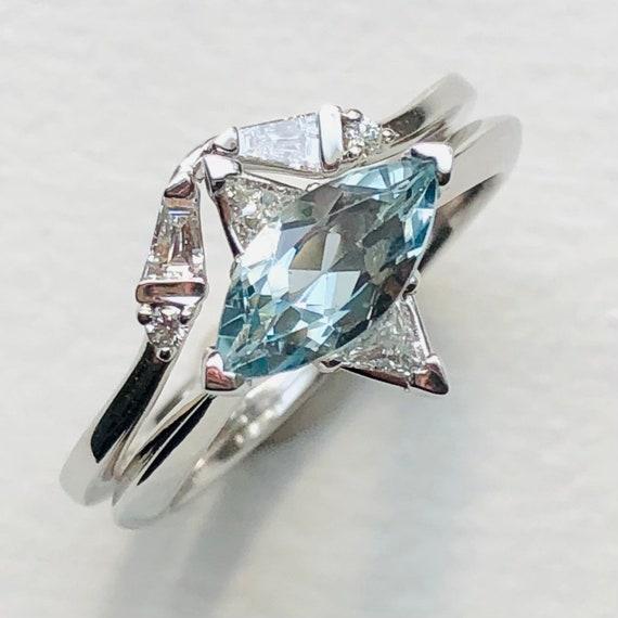 Marquise Aquamarine and Triangle Diamond Engagement Ring Set
